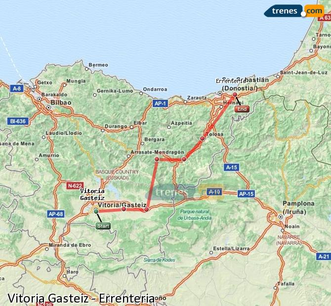 Enlarge map Trains Vitoria Gasteiz to Errenteria