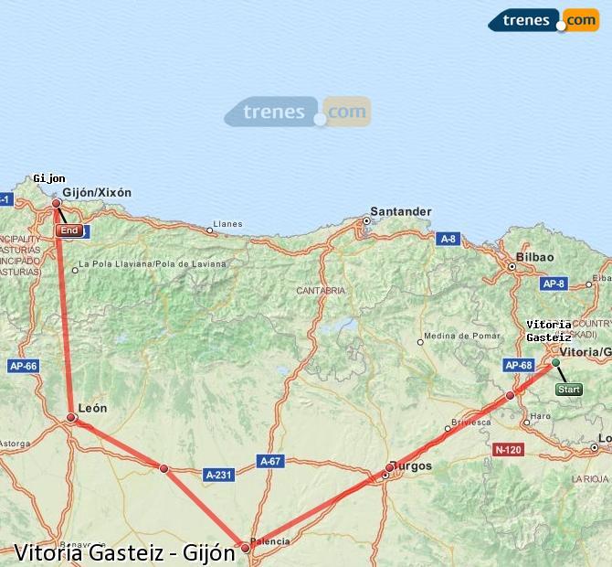 Ingrandisci la mappa Treni Vitoria Gasteiz Gijón