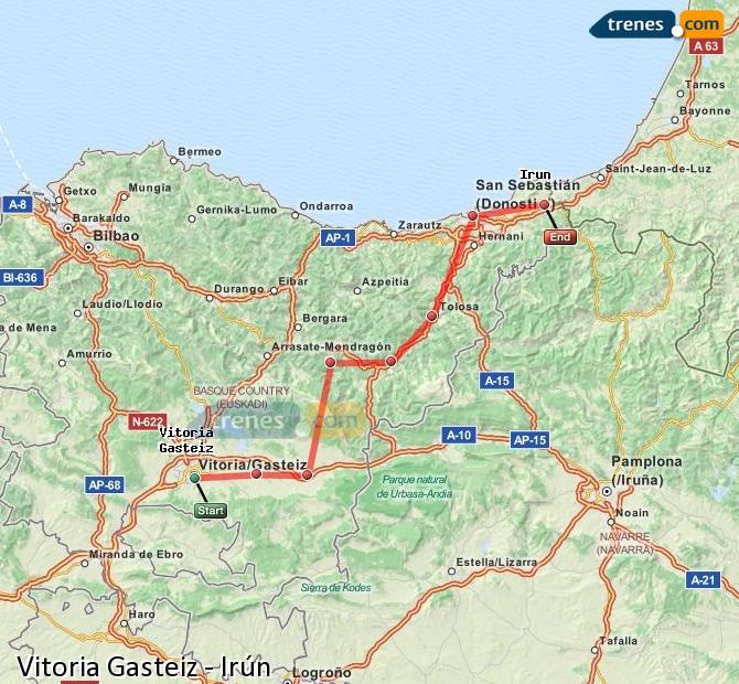 Ampliar mapa Trenes Vitoria Gasteiz Irún