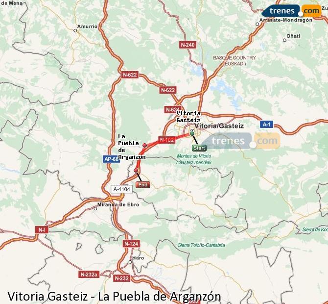 Karte vergrößern Züge Vitoria Gasteiz La Puebla de Arganzón