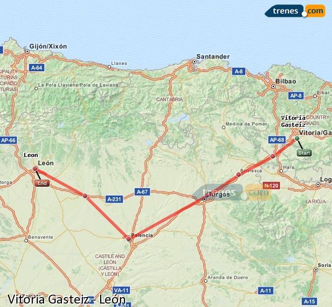 Ingrandisci la mappa Treni Vitoria Gasteiz León