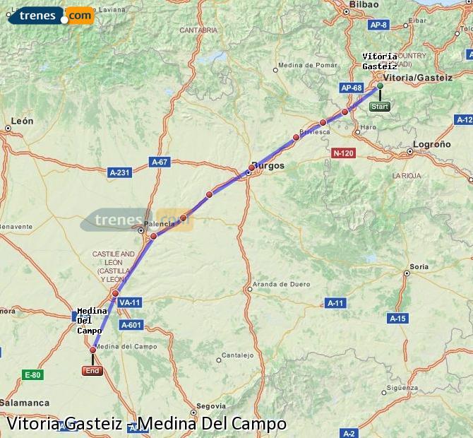 Ampliar mapa Trenes Vitoria Gasteiz Medina Del Campo