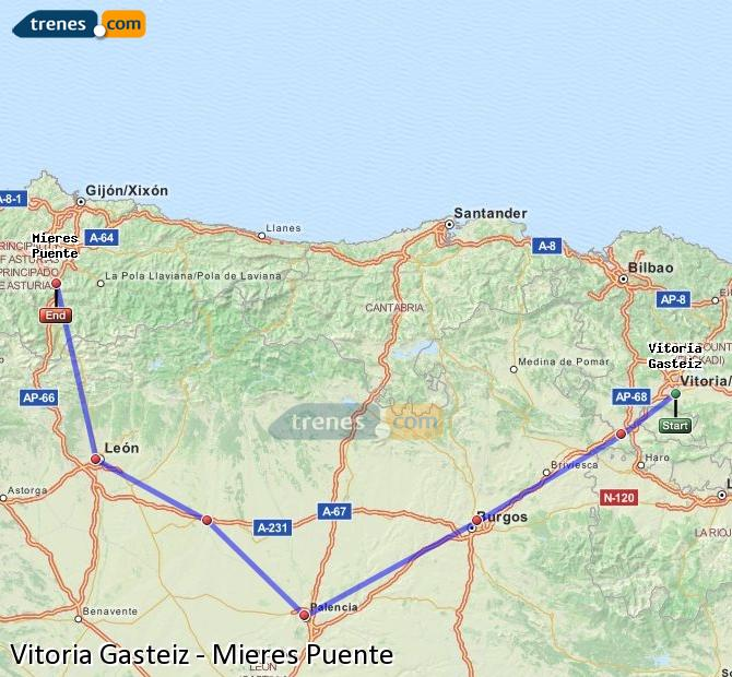 Enlarge map Trains Vitoria Gasteiz to Mieres Puente