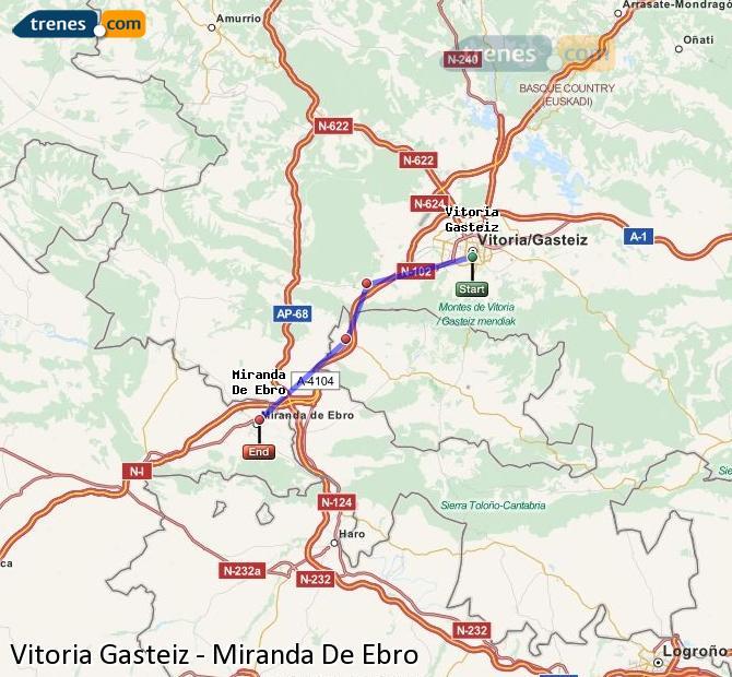 Agrandir la carte Trains Vitoria Gasteiz Miranda De Ebro