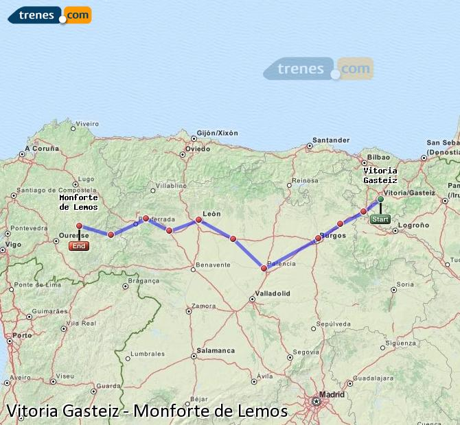 Enlarge map Trains Vitoria Gasteiz to Monforte de Lemos