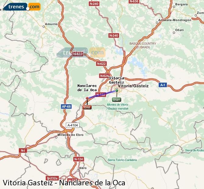 Ampliar mapa Trenes Vitoria Gasteiz Nanclares de la Oca