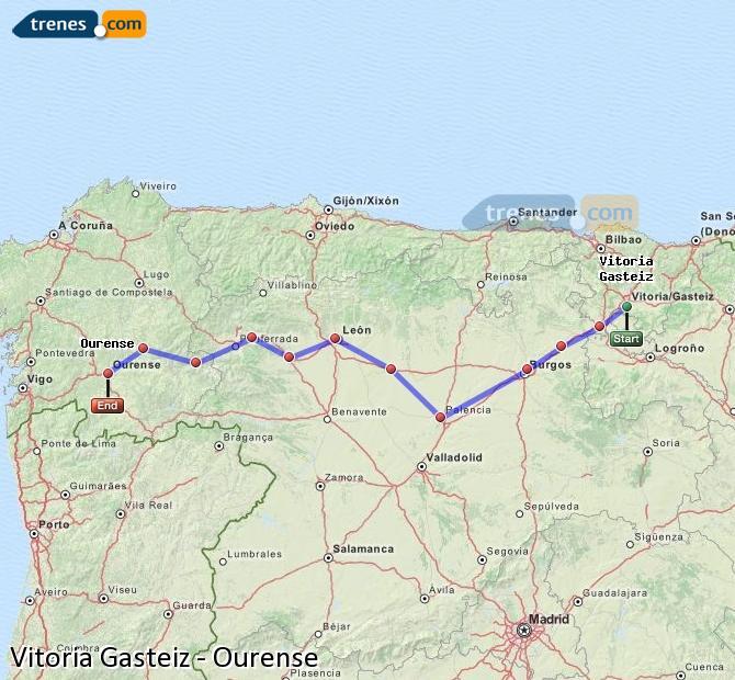 Karte vergrößern Züge Vitoria Gasteiz Ourense