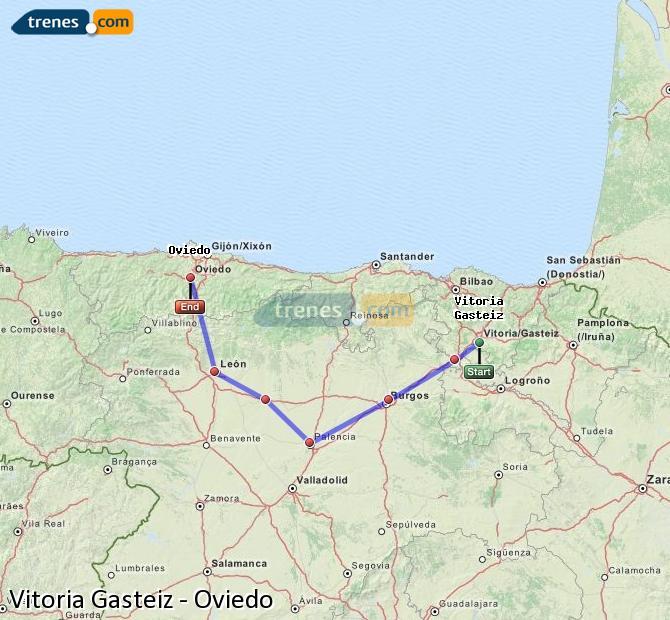 Agrandir la carte Trains Vitoria Gasteiz Oviedo