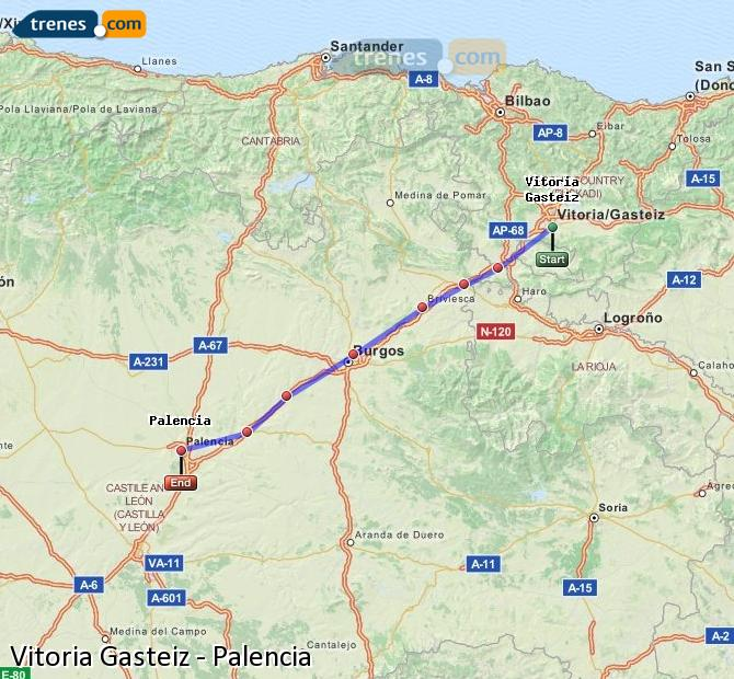 Ampliar mapa Trenes Vitoria Gasteiz Palencia
