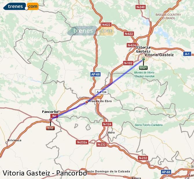 Enlarge map Trains Vitoria Gasteiz to Pancorbo