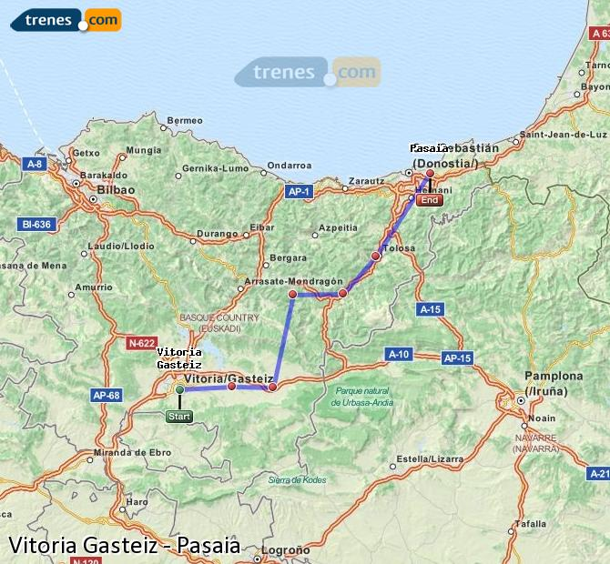 Ingrandisci la mappa Treni Vitoria Gasteiz Pasaia