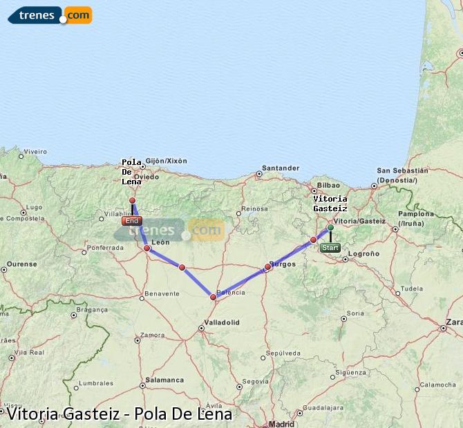 Karte vergrößern Züge Vitoria Gasteiz Pola De Lena