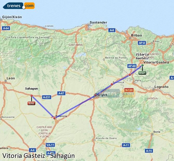 Enlarge map Trains Vitoria Gasteiz to Sahagun