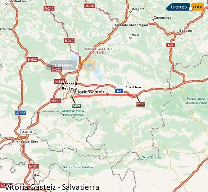 Enlarge map Trains Vitoria Gasteiz to Salvatierra