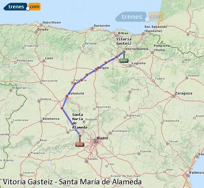 Enlarge map Trains Vitoria Gasteiz to Santa Maria de Alameda