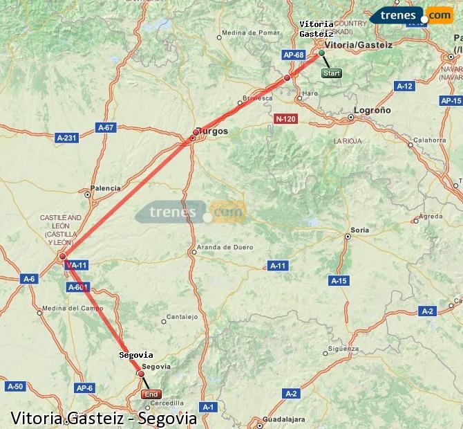 Enlarge map Trains Vitoria Gasteiz to Segovia