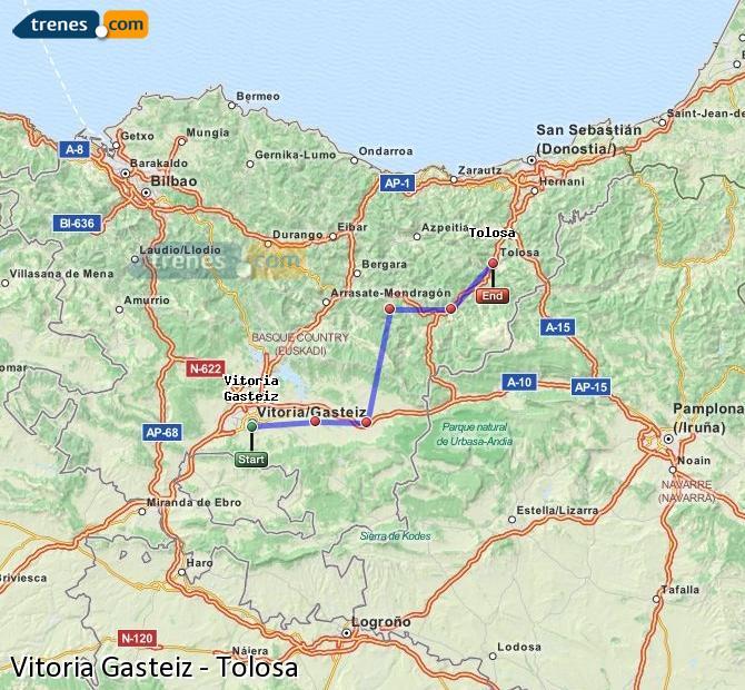 Karte vergrößern Züge Vitoria Gasteiz Tolosa