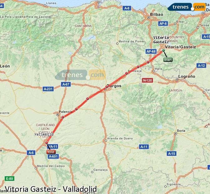 Ingrandisci la mappa Treni Vitoria Gasteiz Valladolid