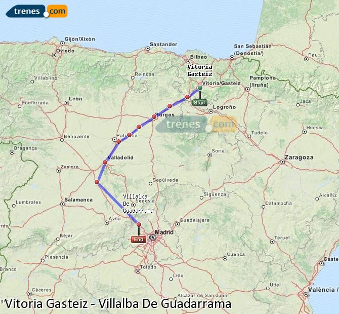 Enlarge map Trains Vitoria Gasteiz to Villalba De Guadarrama
