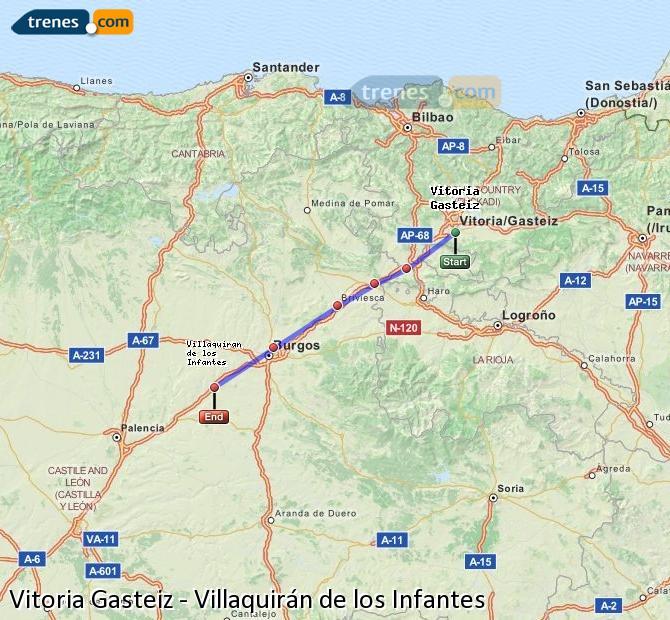 Ampliar mapa Trenes Vitoria Gasteiz Villaquirán de los Infantes