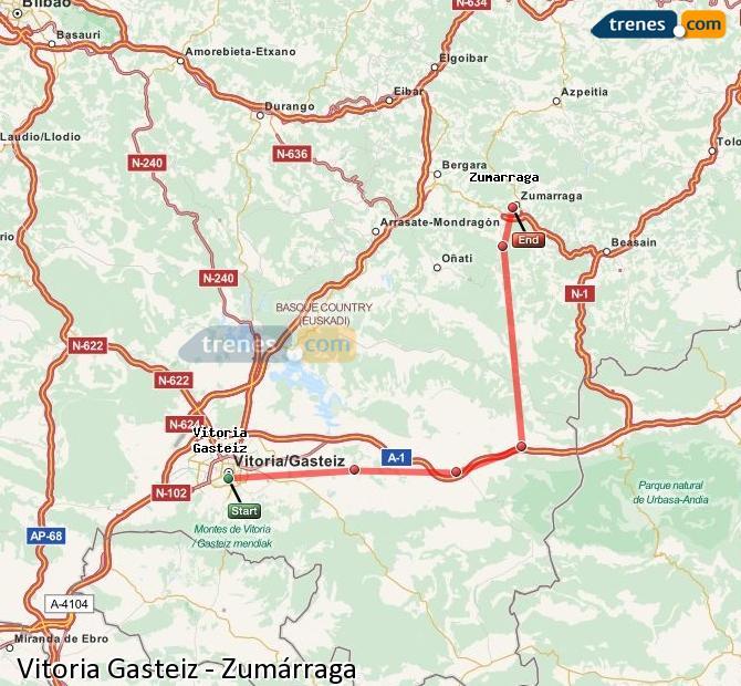 Karte vergrößern Züge Vitoria Gasteiz Zumárraga