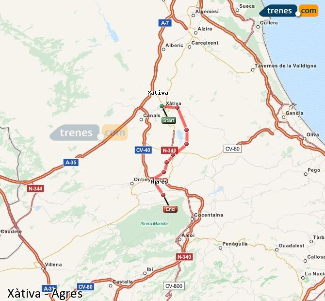 Enlarge map Trains Xativa to Agres