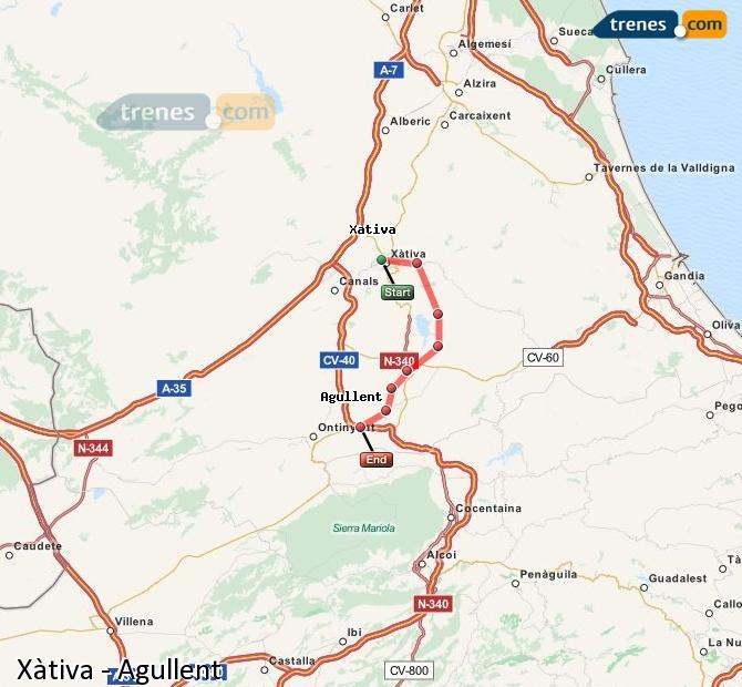 Ampliar mapa Trenes Xàtiva Agullent