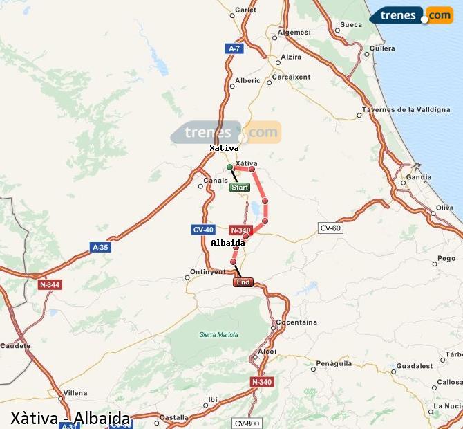 Ingrandisci la mappa Treni Xàtiva Albaida