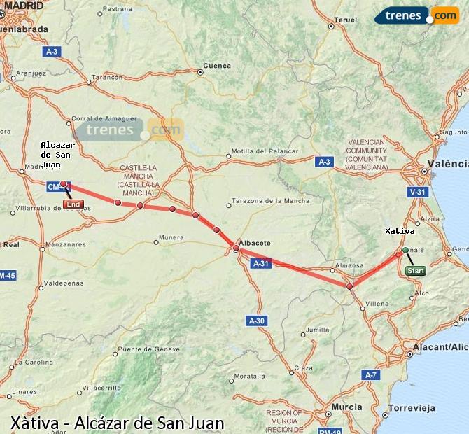 Ingrandisci la mappa Treni Xàtiva Alcázar de San Juan