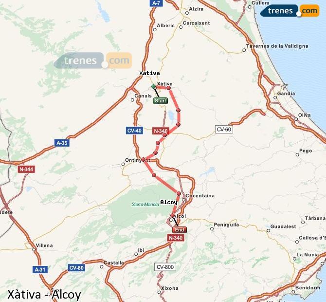 Ampliar mapa Trenes Xàtiva Alcoy
