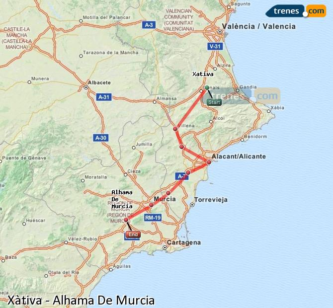 Enlarge map Trains Xativa to Alhama De Murcia