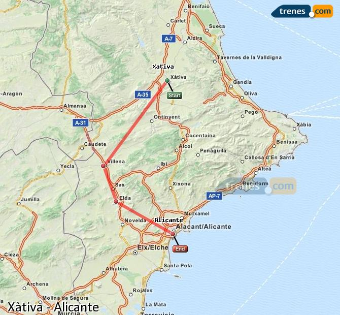 Enlarge map Trains Xativa to Alicante