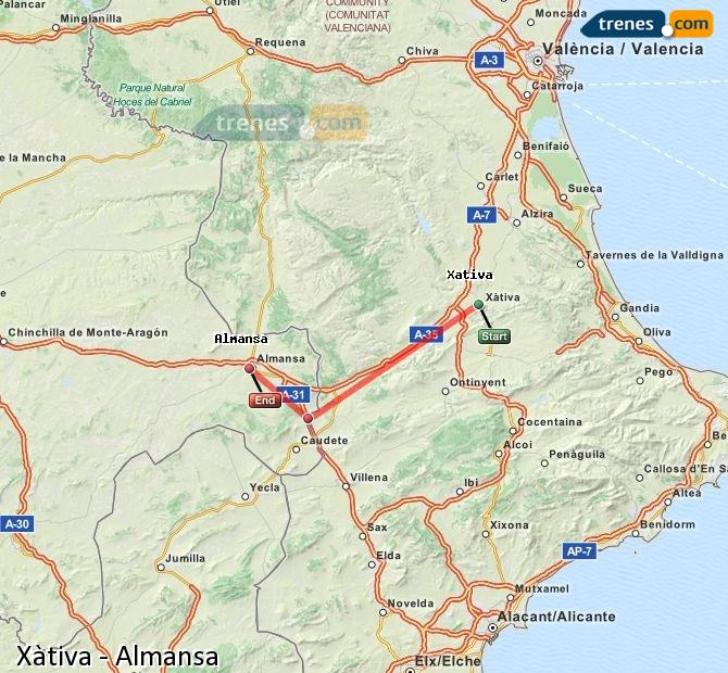 Enlarge map Trains Xativa to Almansa