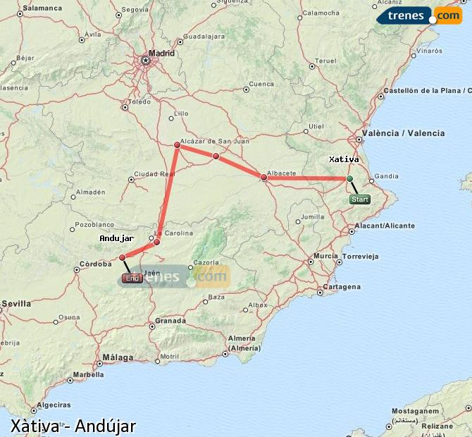 Enlarge map Trains Xativa to Andújar