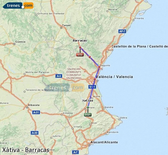 Ingrandisci la mappa Treni Xàtiva Barracas