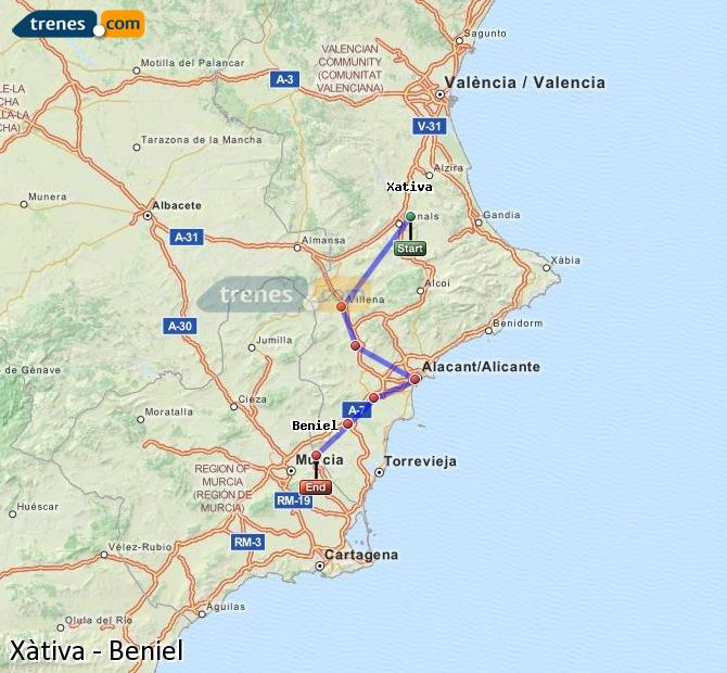 Enlarge map Trains Xativa to Beniel