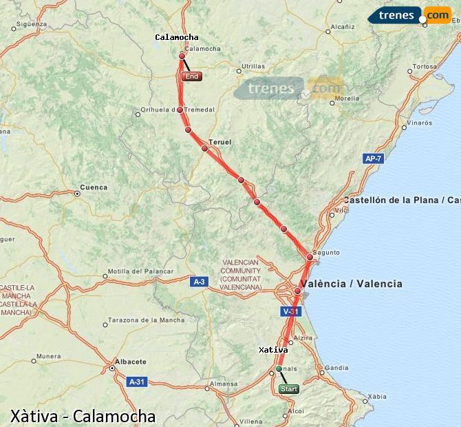 Ingrandisci la mappa Treni Xàtiva Calamocha