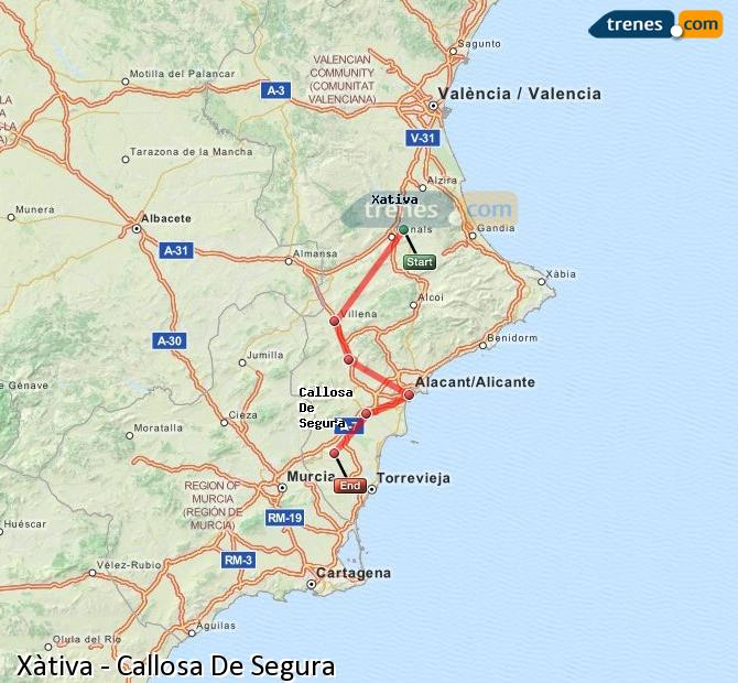 Enlarge map Trains Xativa to Callosa De Segura