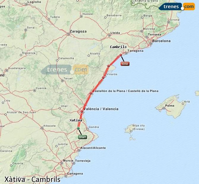 Ampliar mapa Comboios Xàtiva Cambrils