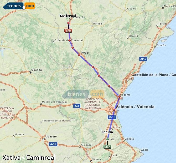 Enlarge map Trains Xativa to Caminreal