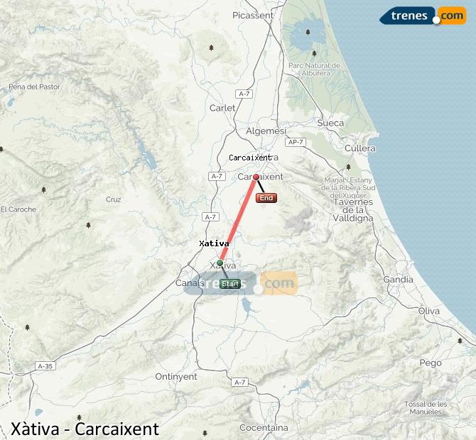 Ampliar mapa Trenes Xàtiva Carcaixent