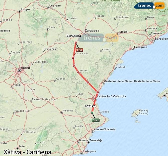Agrandir la carte Trains Xàtiva Cariñena