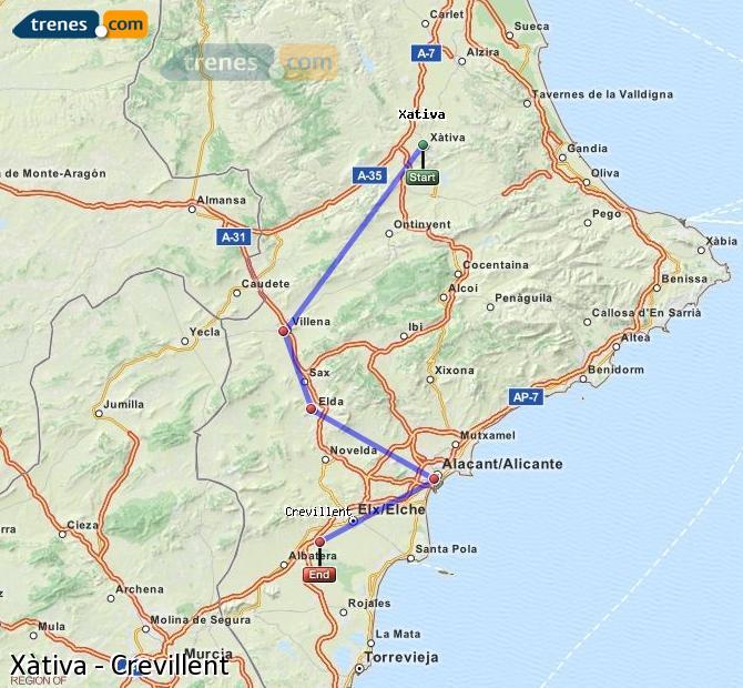 Ingrandisci la mappa Treni Xàtiva Crevillent
