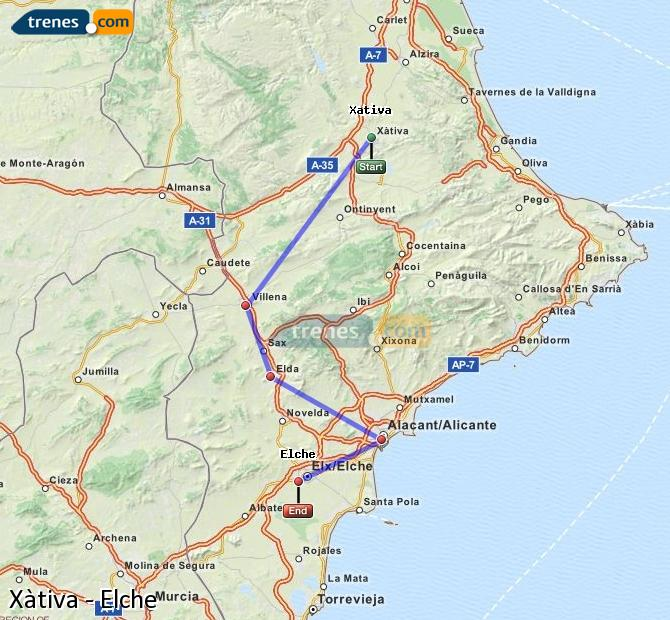 Enlarge map Trains Xativa to Elche