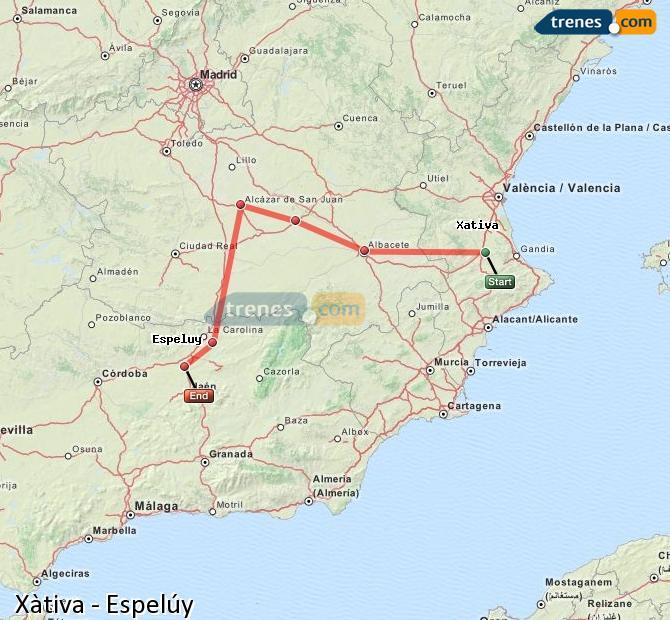 Ampliar mapa Comboios Xàtiva Espelúy