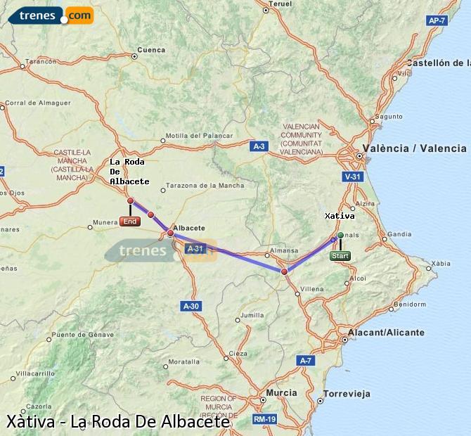 Ingrandisci la mappa Treni Xàtiva La Roda De Albacete