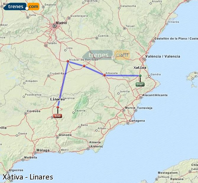 Enlarge map Trains Xativa to Linares
