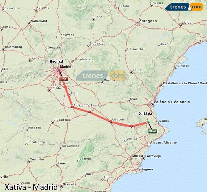 Ingrandisci la mappa Treni Xàtiva Madrid