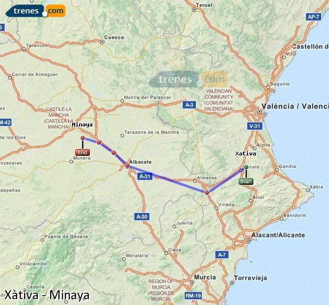 Ingrandisci la mappa Treni Xàtiva Minaya