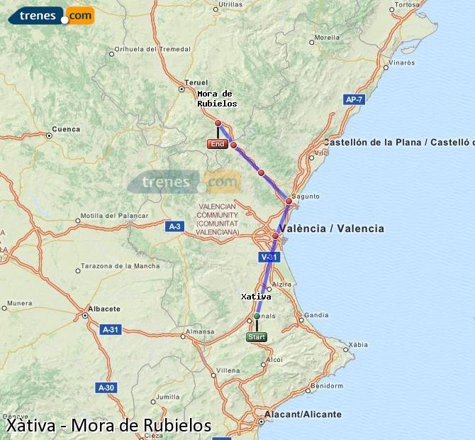 Enlarge map Trains Xativa to Mora de Rubielos